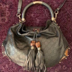 Gucci Bag: Gucci Indy Metallic Large leather mono